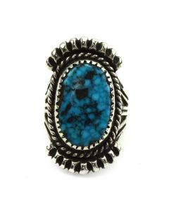 Possibly Johnny King - Navajo Turquoise and Silver Ring c. 1980s, size 5