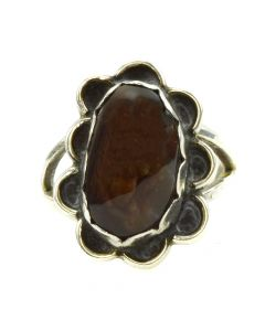 Navajo Fire Agate and Silver Ring c. 1980s, size 6.5 (J10878)