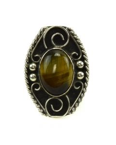Mexican Blue and Golden Tiger's Eye and Silver Ring c. 1980s, size 6