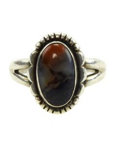 Bell Trading Post - Navajo Petrified Wood and Silver Ring c. 1940s, size 6.5