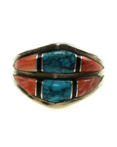 Sunburst Handcrafts Inc. - Navajo Multi-Stone Channel Inlay and Silver Ring c. 1980s, size 5.5