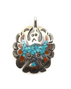 "Frances Begay - Navajo Turquoise and Coral Chip Inlay and Sterling Silver Stamped Peyote Bird Pendant c. 1980s, 1.25"" x 1"""