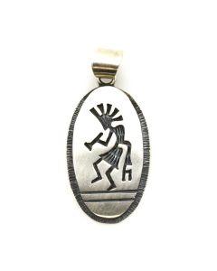 "Clifton Mowa - Hopi Silver Overlay Pendant c. 1980s, 1.5"" x 0.75"""