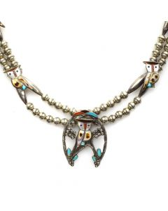 """Pitkin and Wanda Natewa - Zuni Multi-Stone Channel Inlay and Silver Necklace with Owl Designs c. 1970-80s, 33"""" length"""