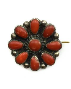 "Navajo Coral and Silver Pin c. 1950s, 1.25"" diameter"