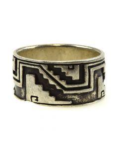 Mexican Silver Overlay Ring c. 1980s, size 8
