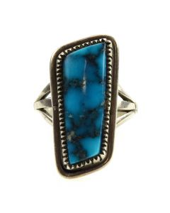 Nancy Custer - Navajo Morenci Turquoise and Sterling Silver Ring c. 1980s, size 6
