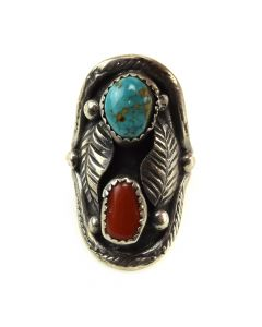 J. Yazzie - Navajo Turquoise, Coral, and Silver Ring c. 1970s, size 5