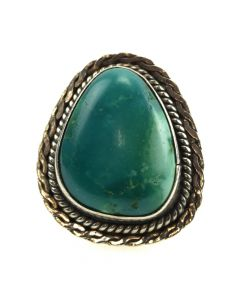 H. Cortez - Navajo Turquoise and Silver Ring c. 1970-80s, size 5.5