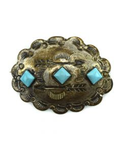 """Navajo Turquoise and Silver Pin with Stamped Designs c. 1950s, 1.5"""" x 2"""""""