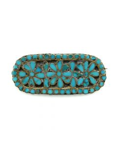 "Dishta Family - Zuni Turquoise Channel Inlay and Silver Pin c. 1950s, 0.75"" x 1.5"""