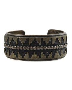 Thomas Singer - Navajo Silver Overlay Bracelet c. 1980s, size 6.5