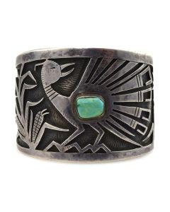 Victor Coochwytewa (1922-2011) - Hopi Guild - Turquoise and Silver Overlay Bracelet with Roadrunner Design c. 1950s, size 6.5