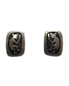 "Bernard Dawahoya (1935-2011) - Hopi Silver Overlay Post Earrings with Mudhead Kachina Design c. 1960s, 1.25"" x 0.75"" (J11060) 1"
