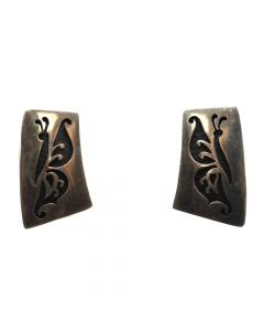 "Bernard Dawahoya (1935-2011) - Hopi Silver Overlay Post Earrings with Butterfly Design c. 1960s, 1.25"" x 0.75"" (J11061)"