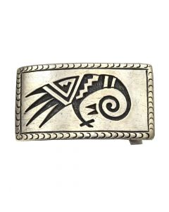 "McBride Lomayestewa (1932-2002) - Hopi Silver Overlay Belt Buckle with Bird Design c. 1950s, 1.25"" x 2.25"""