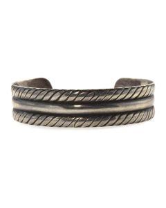 Navajo Silver Raised Row Bracelet c. 1940s, size 6.5