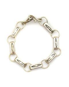 Navajo Silver Link Design Bracelet c. 1930s, size 8