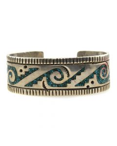 Willy Singer - Navajo Turquoise Chip Inlay and Silver Bracelet c. 1970s, size 6.5