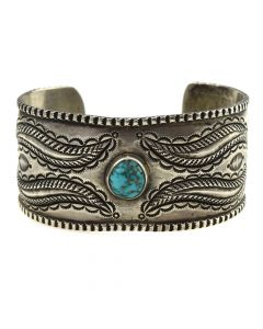 Perry Shorty - Navajo Turquoise and Coin Silver Bracelet c. 2000s, size 6.5