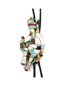 "Eddy Beyuka (1920-2002) - Zuni Multi-Stone Channel Inlay and Silver Antelope Dancer Bolo Tie c. 1940s, 6.25"" x 3"""
