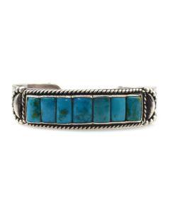 Fred Peshlakai (1896-1974) - Navajo Turquoise and Silver Bracelet c. 1940s, size 6.5