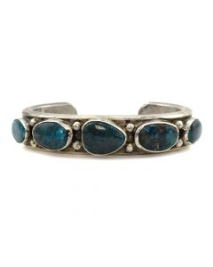 Mark Chee (1914-1981) - Navajo Turquoise and Silver Stamped Bracelet c. 1950s, size 6.25