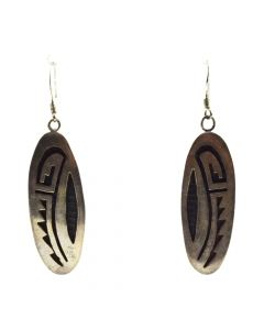 "James Honyaktewa - Hopi Silver Overlay Hook Earrings c. 1960s, 2.125"" x 0.625"""