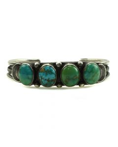 Navajo Turquoise and Silver Bracelet c. 1920-30s, size 6.5