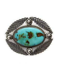 """United Indian Traders Association - Navajo Turquoise and Silver Pin c. 1940s, 1.5"""" x 1.75"""""""