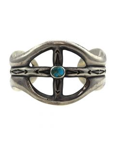 Navajo Turquoise and Silver Sandcast Bracelet c. 1938-44, size 6.5