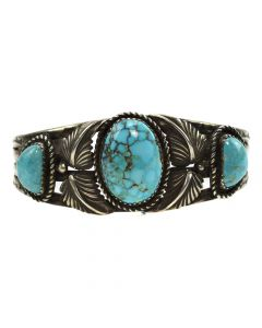 Navajo Morenci Turquoise and Silver Bracelet c. 1940-50s, size 6.25