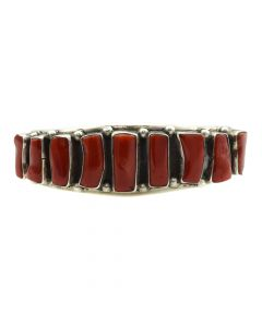Navajo Coral and Silver Bracelet c. 1960s, size 6