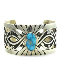 Mark Lomayestewa - Hopi Turquoise and Silver Bracelet c. 1960-70s, size 7