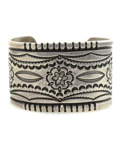 Mark Chee (1914-1981)- Navajo Silver Bracelet with Stamped Designs c. 1950s, size 6