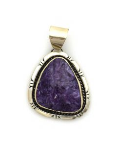 "Navajo Charoite and Sterling Silver Pendant c. 1980s, 2"" x 1.25"""