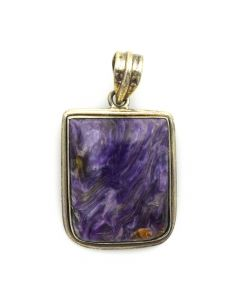 "Mexican Charoite and Silver Pendant c. 1980s, 2"" x 1"""