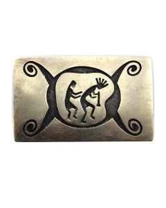 "Nathan Fred Jr. - Hopi Crafts - Silver Overlay Belt Buckle with Kokopelli Design c. 1970-80s, 2"" x 3.25"""