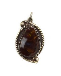 "Mexican Fire Agate and Sterling Silver Pendant c. 1980s, 1.5"" x 1"" (J11167)"