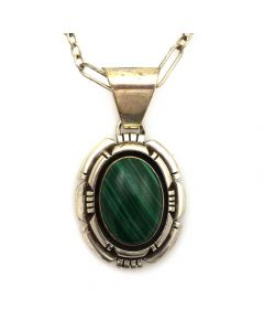 "Billie Wydell - Navajo Malachite and Silver Necklace c. 1980s, 18"" length"