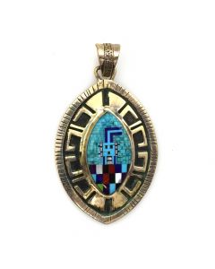 "Possibly Ben Yazzie - Navajo Multi-Stone and Silver Overlay Yei Pendant c. 1980s, 2"" x 1.25"""