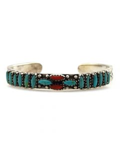 Zuni Petit Point Turquoise, Coral, and Silver Stamped Bracelet c. 1960s, 6.25