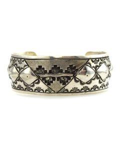 Elle Hubert - Navajo Sterling Silver Bracelet with Stamped Designs c. 1980s, size 6.5