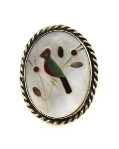 Zuni Multi-Stone Inlay and Silver Bird Ring c. 1950s, size 7
