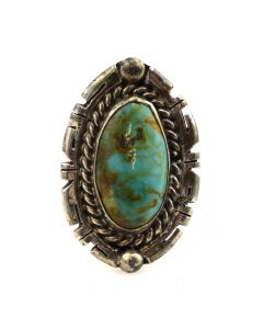 Navajo Turquoise and Silver Ring c. 1970s, size 8