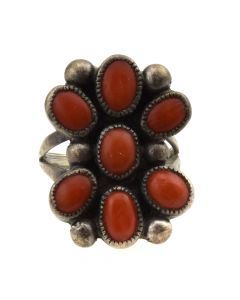 Navajo Coral and Silver Ring c. 1960s, size 7.25