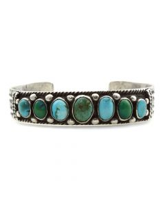 Navajo Turquoise and Silver Bracelet c. 1920s, size 6.5
