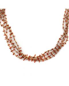 "Santo Domingo Four-Strand Coral and Heishi Necklace c. 1970s, 30"" length"