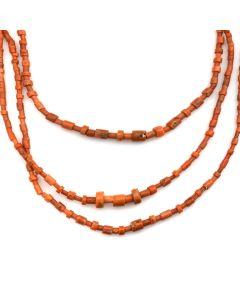 "Santo Domingo Three-Strand Coral Necklace c. 1970s, 30"" length"