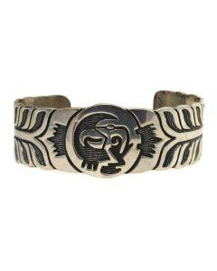 Hopi Silver Overlay Bracelet with Bird Design c. 1970s, size 7.25